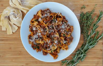 Enjoy our recipe for pappardelle al ragù di cinghiale